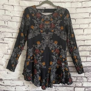 Free People Floral Tunic along Sleeve Blouse